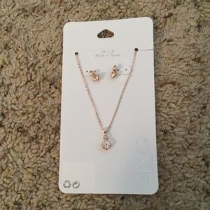 ICING ROSE GOLD EARRINGS NECKLACE GIFT SET, NWT